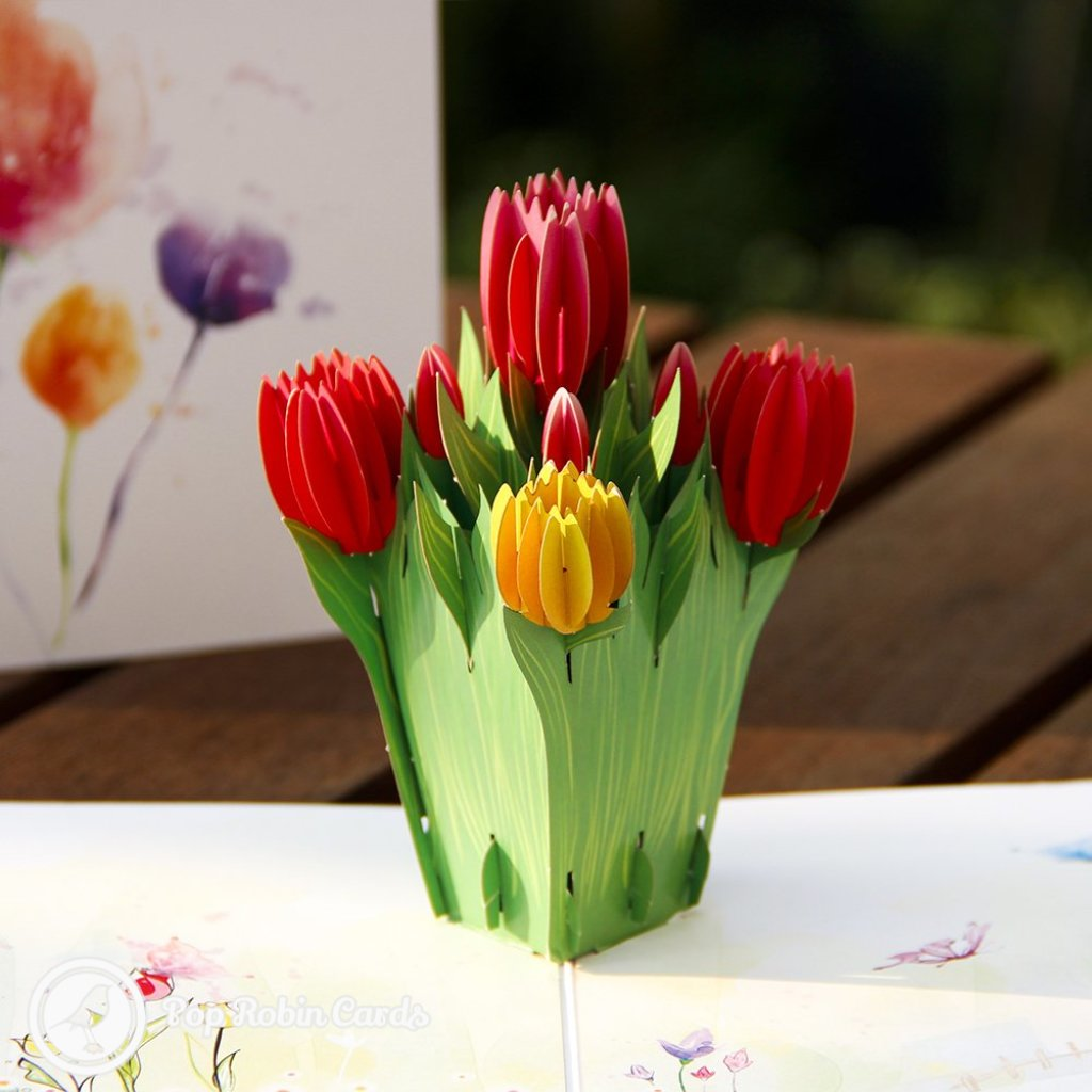 Colourful Tulips 3D Pop Up Greetings Card 1910