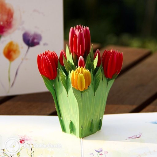 The beautiful tulips in this 3D pop up card are sure to brighten someone's day. The card opens to reveal the flowers in a pop out design.