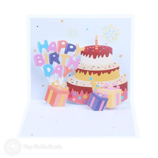 Confetti Burst Happy Birthday Cake and Presents 3D Pop-up Card
