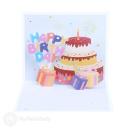 Confetti Burst Happy Birthday Cake And Presents 3D Pop Up Card #3890