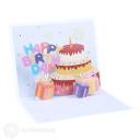 Confetti Burst Happy Birthday Cake And Presents 3D Pop Up Card #3891