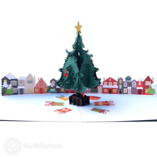 Christmas Tree & Houses Handmade 3D Pop-Up Christmas Card #2681