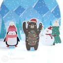 Cosy Penguin And Bear Handmade 3D Pop-Up Christmas Card #2662