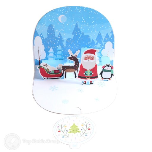 "This cute Christmas card opens to reveal a 3D pop-up scene showing Father Christmas, his sleigh and reindeer and a penguin wrapped up for winter with a snowy forest in the background. The cover has a special curved design and a ""Merry Christmas"" message."