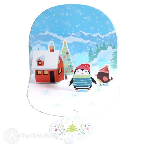 Cosy Penguin Christmas House Handmade 3D Pop-Up Christmas Card #2695