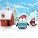 Cosy Penguin Christmas House Handmade 3D Pop-Up Christmas Card #2701