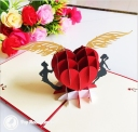 Couple & Flying Heart 3D Pop-Up Romantic Card #2816
