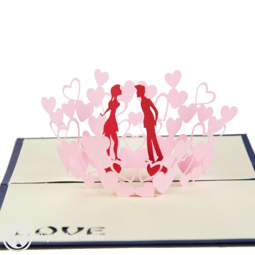 Couple in Flower Glade 3D Pop-Up Greetings Card (Blue) 1295