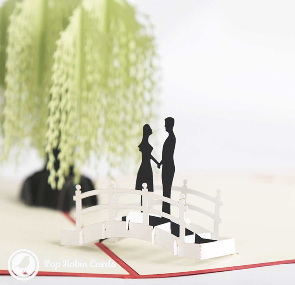 Couple On Bridge By Willow Tree Handmade 3D Card #3281