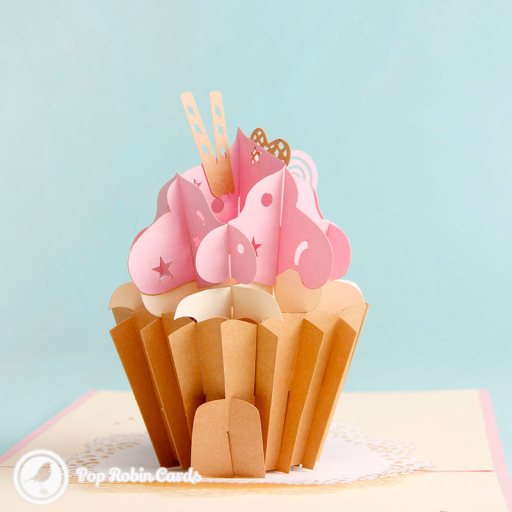 Sweet Pink Cupcake Handmade 3D Pop Up Card