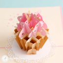 Sweet Pink Cupcake Handmade 3D Pop Up Card #3006