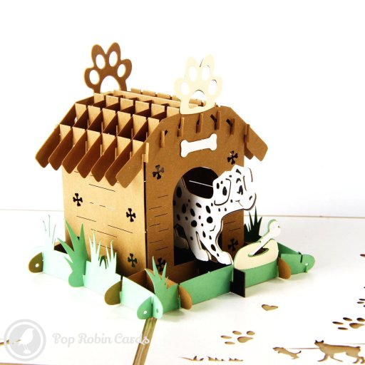 This cute greetings card opens to reveal a 3D pop-up design showing an adorable Dalmatian dog emerging from a kennel. It's sure to delight anyone who loves dogs.