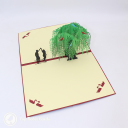 Romantic Couple Dancing Under Willow Tree 3D Pop Up Card #3229