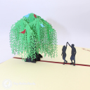 Romantic Couple Dancing Under Willow Tree 3D Pop Up Card #3231