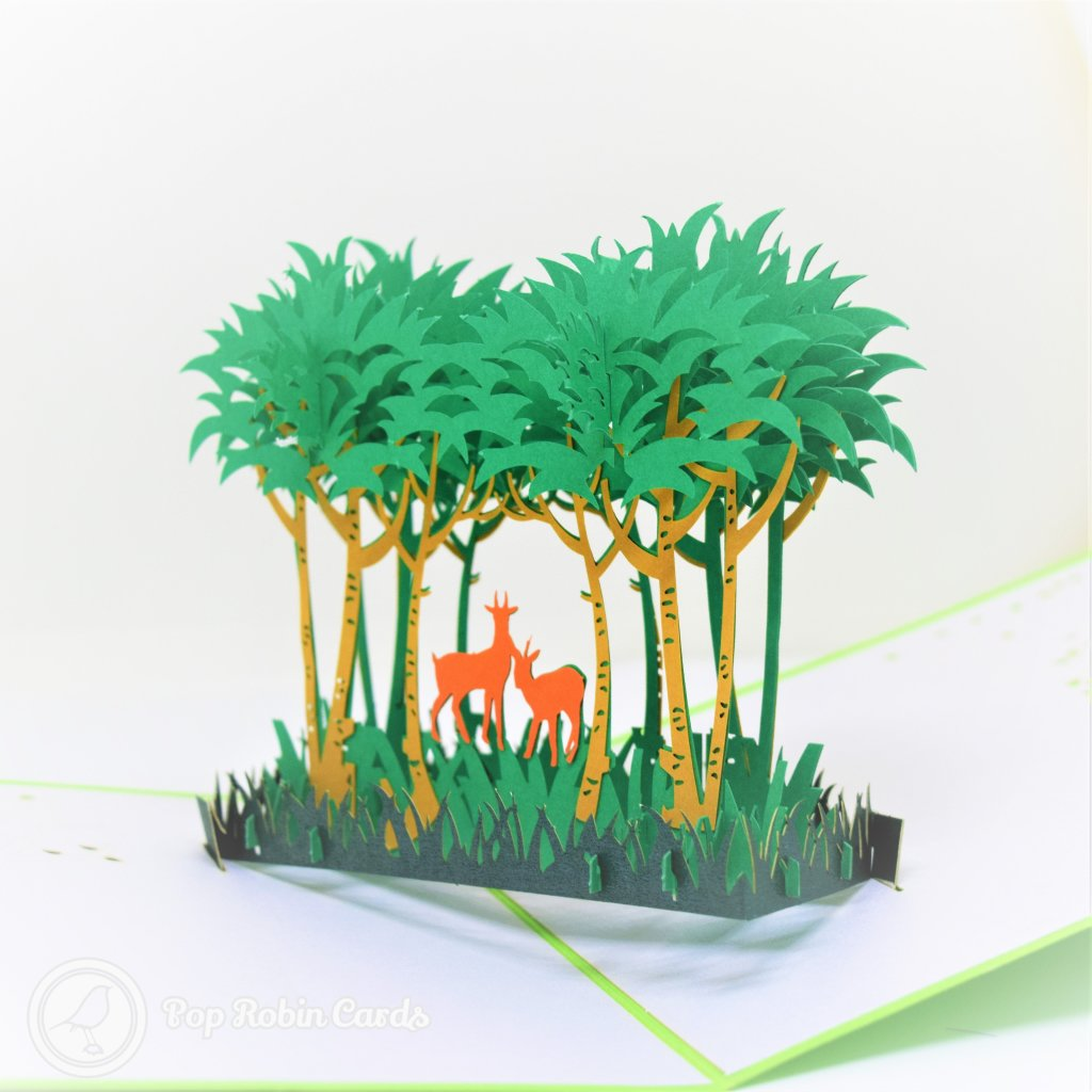 Deer And Forest Handmade 3D Pop-Up Card #2735