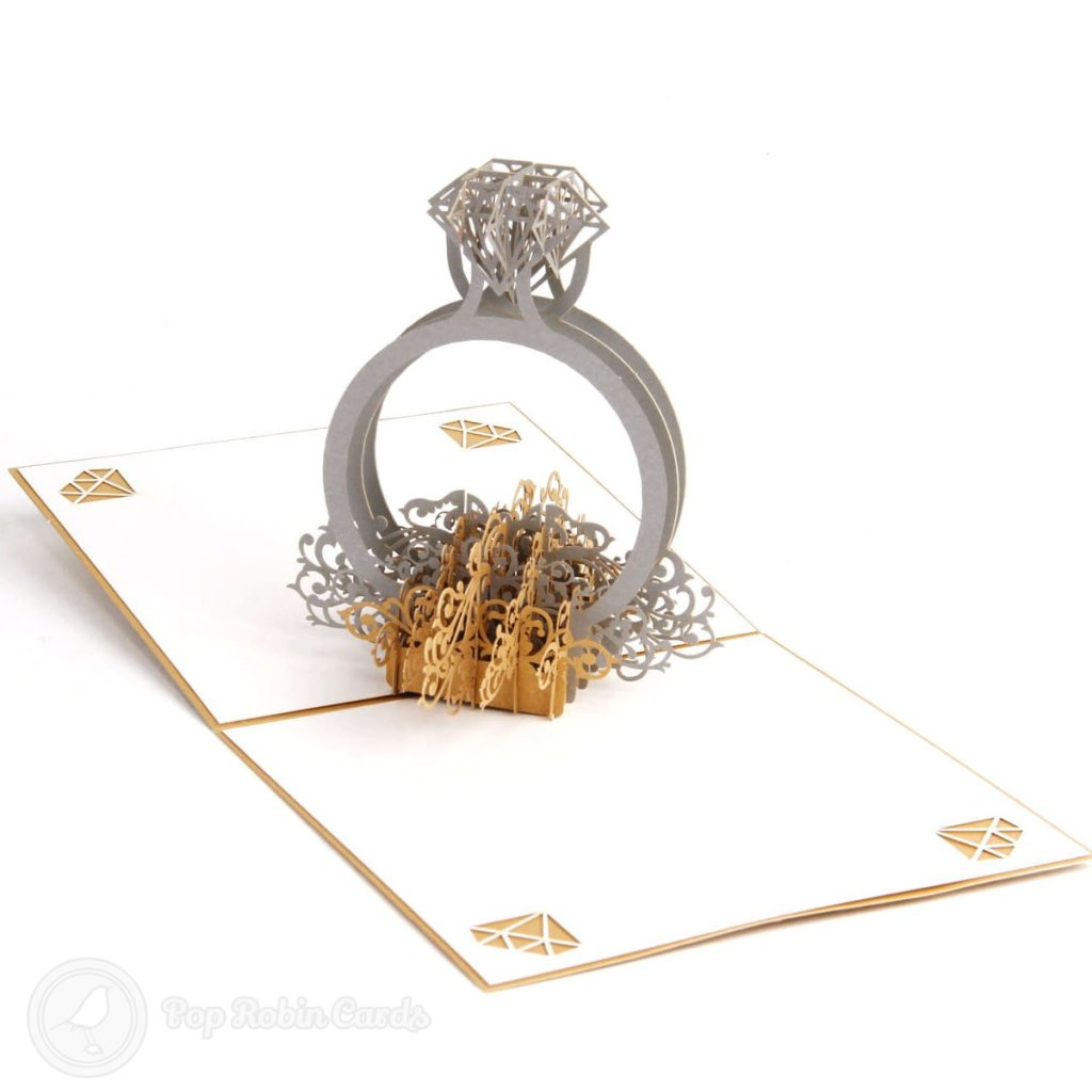 Diamond Engagement Ring 3D Pop Up Congratulations Card 2034