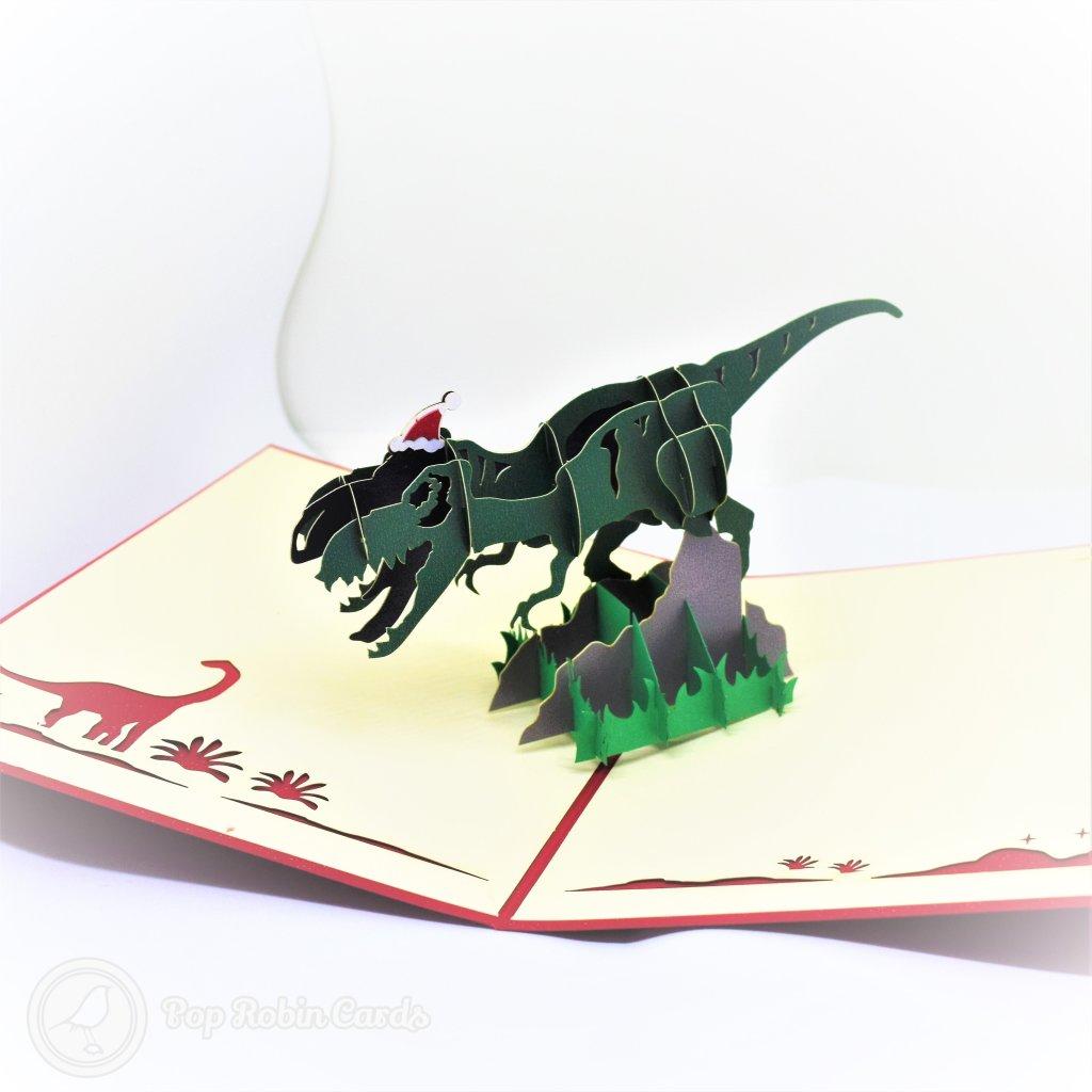 T-Rex Dinosaur With Christmas Hat Handmade 3D Pop-Up Funny Christmas Card #2718