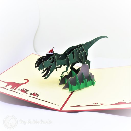 T-Rex Dinosaur With Christmas Hat Handmade 3D Pop-Up Funny Christmas Card #2718