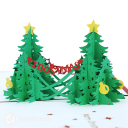 Double Christmas Trees 3D Pop Up Handmade Card #3508