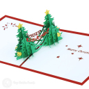 Double Christmas Trees 3D Pop Up Handmade Card #3509