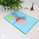 Dragonfly On Water Lily Pond Handmade 3D Pop Up Card #3104