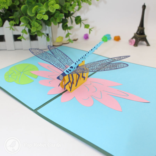 This beautiful card opens to reveal a 3D pop up design showing a dragonfly hovering above water lillies on a pond. The cover has a stencil design showing the same scene from the side.