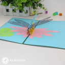 Dragonfly On Water Lily Pond Handmade 3D Pop Up Card #3111