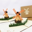 Dutch Windmill In Field 3D Handmade Pop Up Greetings Card #3844