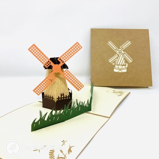 Dutch Windmill in Field 3D Handmade Pop Up Greetings Card