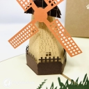 Dutch Windmill In Field 3D Handmade Pop Up Greetings Card #3847