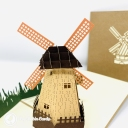 Dutch Windmill In Field 3D Handmade Pop Up Greetings Card #3848