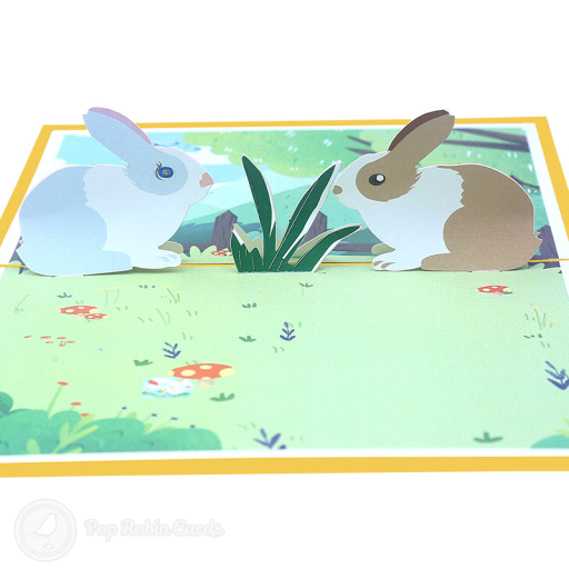 This cute greetings card has a 3D pop up design showing two rabbits, one grey and one brown, surrounded by decorated Easter eggs in a grassy meadow. The cover has a stylised Easter Bunny design.