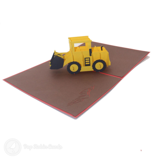 This card is sure to excite any digger enthusiast with its 3D pop up design showing a bright yellow digger ready to get to work on a muddy building site. The cover has a stencil design showing the digger from the side.