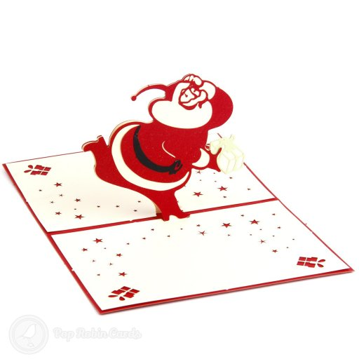 This amusing Christmas card opens to reveal a 3D pop-up design showing a jolly, fat Santa figure running through the snow holding a present.