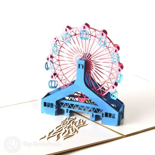 This amazing greetings card opens to reveal a 3D pop-up design showing an intricate ferris wheel over stenciled water. The cover has a stylish stencil design.