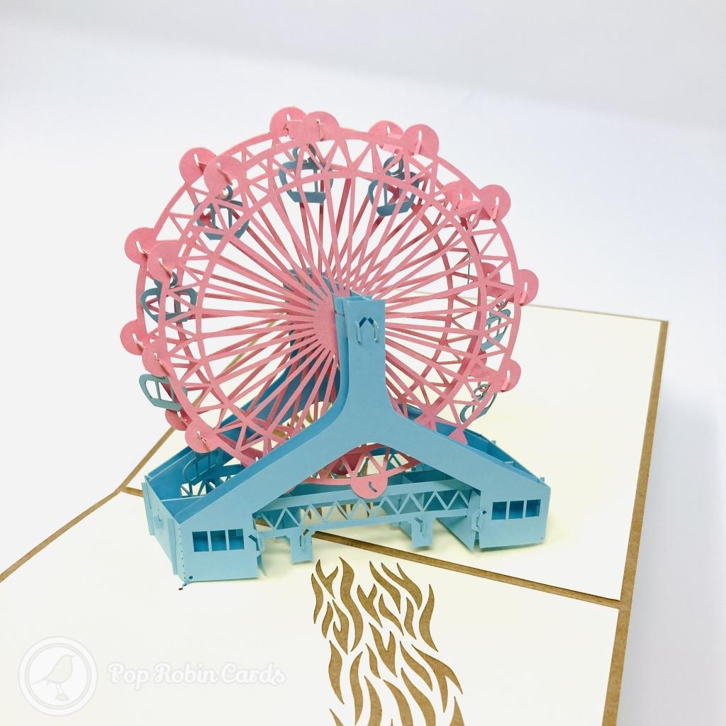 Ferris Wheel Over Water Design Handmade 3D Pop-Up Card #3878