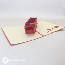 Red Fire Engine Handmade 3D Pop Up Card #3237