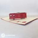 Red Fire Engine Handmade 3D Pop Up Card #3238