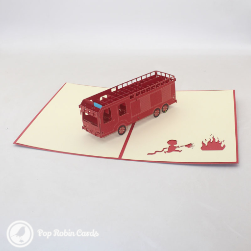 This card is sure to excite fire engine enthusiasts with its 3D pop up design showing a bright red fire truck. The is also a stencil of a fire-fighter with a hose, and the cover has a stencil design showing a fire engine with its equipment.