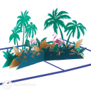 Pink Flamingoes In Palm Tree Grove 3D Pop Up Card #3198