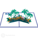 Pink Flamingoes In Palm Tree Grove 3D Pop Up Card #3199