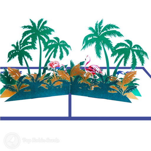 This stunning card opens to reveal a 3D pop up scene showing vivid pink flamingo birds surrounded by palm trees and other plants. The cover also has a stencil design showing a flamingo under a palm tree.