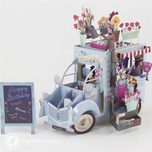 """This quirky greetings card folds flat but opens into an amazing 3D pop-up design depicting a brightly coloured florist's van brimming with flowers. A separate prop-up board piece displays a """"Happy Birthday"""" message."""