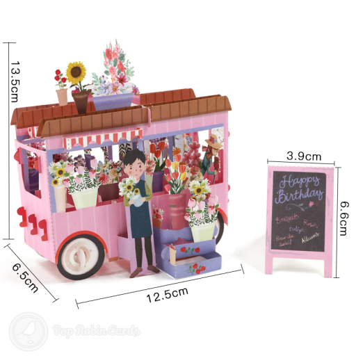 "This quirky greetings card folds flat but opens into an amazing 3D pop-up design depicting a brightly coloured florist's van brimming with flowers. A separate prop-up board piece displays a ""Happy Birthday"" message."