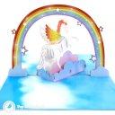 Fabulous Flying Unicorn In Sky Handmade 3D Pop-Up Card #2288