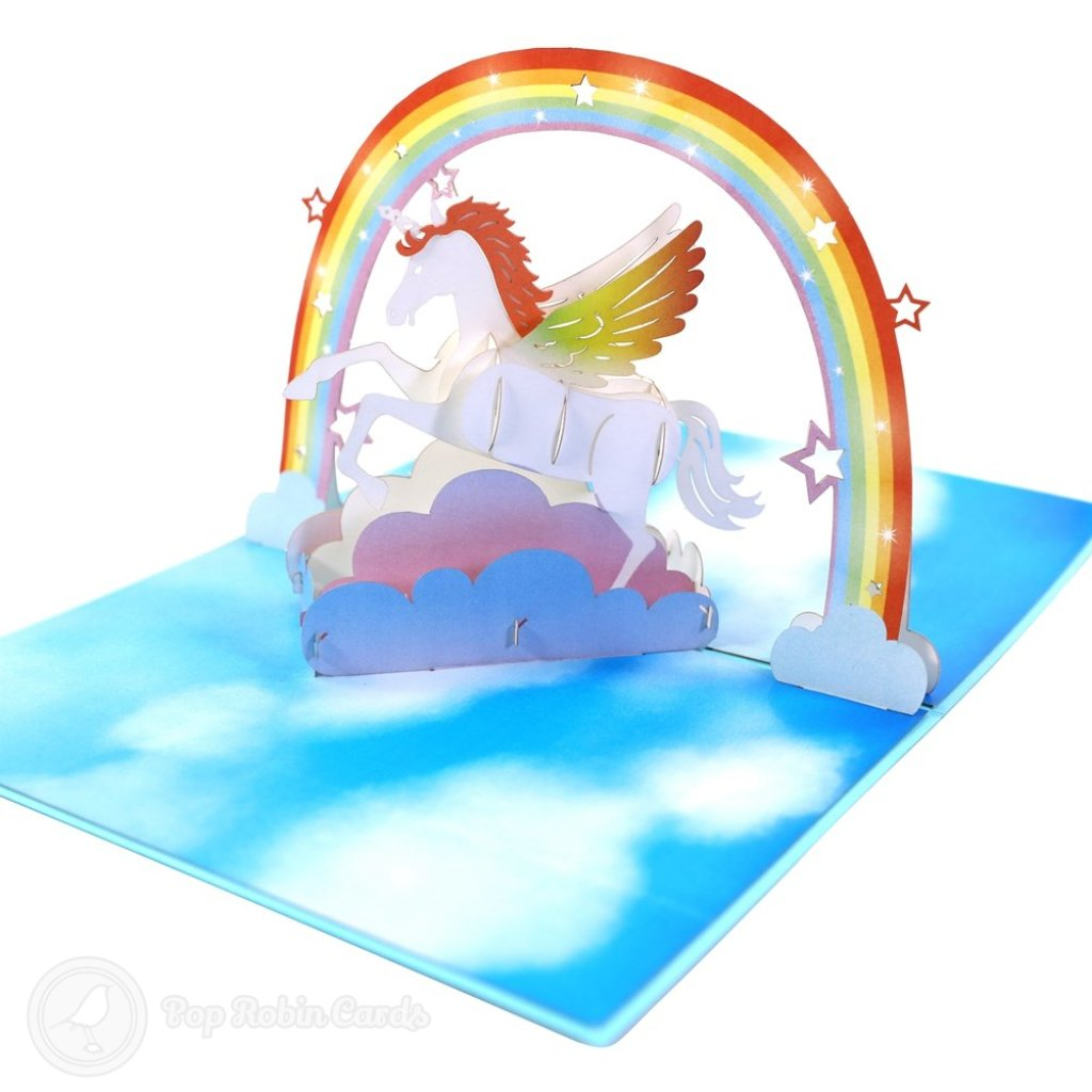 Fabulous Flying Unicorn In Sky Handmade 3D Pop-Up Card #2298