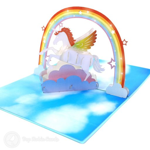 This amazing handmade card opens to reveal a colourful 3D pop-up design showing a fabulous unicorn leaping through a rainbow in the sky. The cover has a stylish unicorn stencil design.