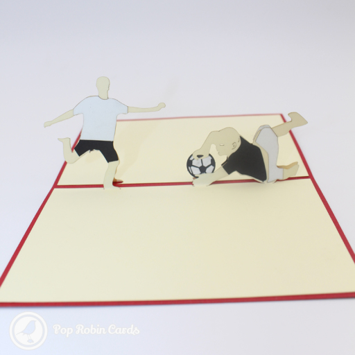 This exciting card is perfect for football fans with its 3D pop up design showing a football scene with a goalie diving to save a goal from a striker.