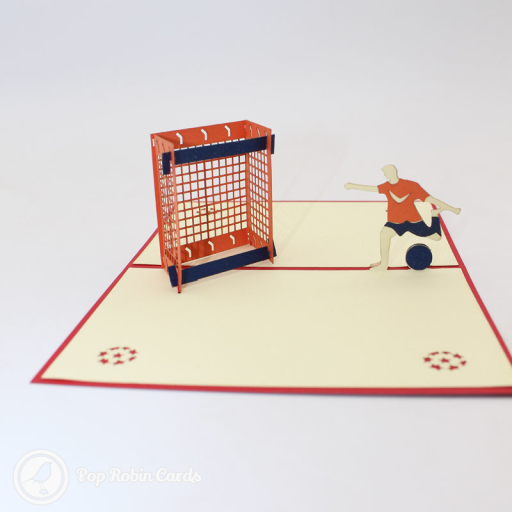 This exciting greetings card has a 3D pop up design showing a football striker about to score a goal. It's a perfect card for football fans and sport enthusiasts.