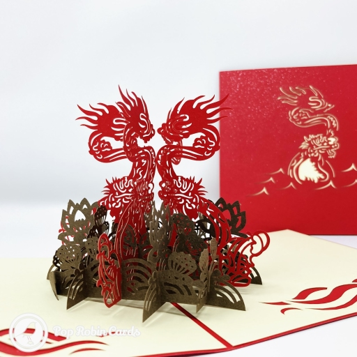 Four Dragons and Four Fish 3D Handmade Pop Up Card